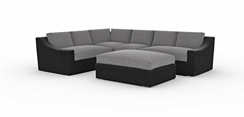 Tuscan Sectional Set Cast Slate 5pcs Left And Right Arm Corner Middle Ottoman With Glass And Cushi Outdoor Sectional Cushions Sectional Couch Decor Couch Decor