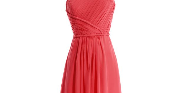 One shoulder chiffon dress with natural waist- short, coral dress