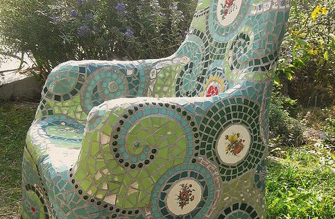 "Mosaic chair by Waschbear - Frances Green, via Flickr. ""Started wiht a"