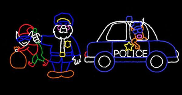 Santa Cop With Rudy Cop Car Santa Holiday Lights Diy Outdoor Lighting