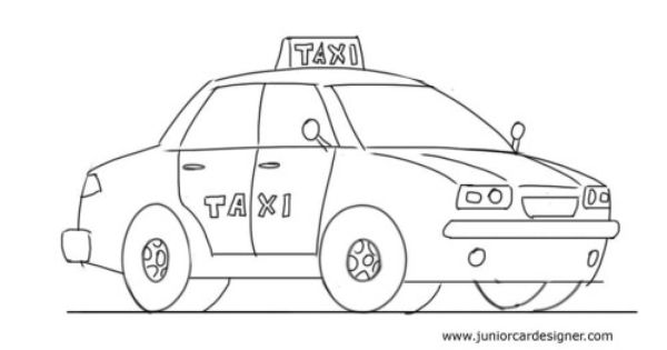 how to draw a taxi
