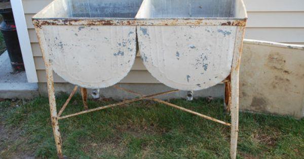 Vintage Antique Galvanized Metal Double Laundry Wash Tub W Drains Lid On Wheels Wash Tubs Metal Wash Tub Galvanized Metal