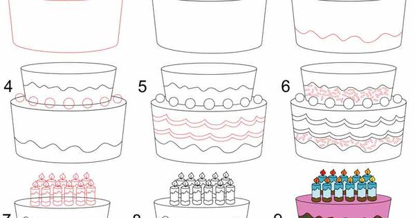 How to Draw a Birthday Cake Step by Step Drawing Tutorials ...