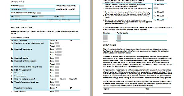 Assessment and Health – Health Assessment Template