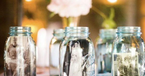 display vintage photos in mason jars - maybe with family photos