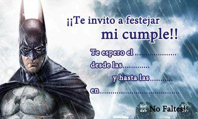 Click Aquí Para Imprimir La Invitación De Batman Para