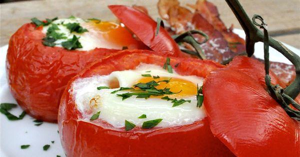 Paleo Baked Tomato & Egg Breakfast | FedandFit always interested in new