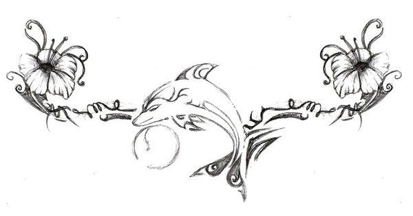 motif de tatouage dauphin et hibiscus by on deviantart tatouage. Black Bedroom Furniture Sets. Home Design Ideas