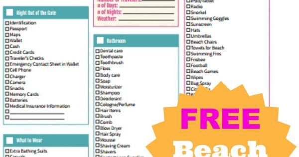 FREE Beach Packing List Printable Pantai, Perjalanan, dan Main ski - packing list sample