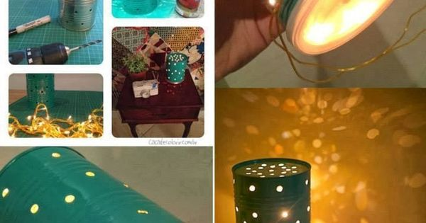 how to make tin can lamp step by step DIY tutorial instructions