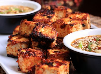 grilled tofu with peanut butter sauce