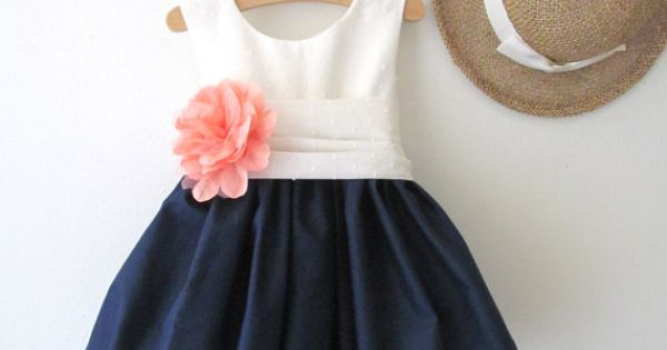 Navy, coral and white flower girl dress - see more info at