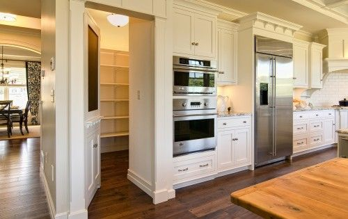 Walk in Pantry behind appliance wall. For my dream house! I'd hide