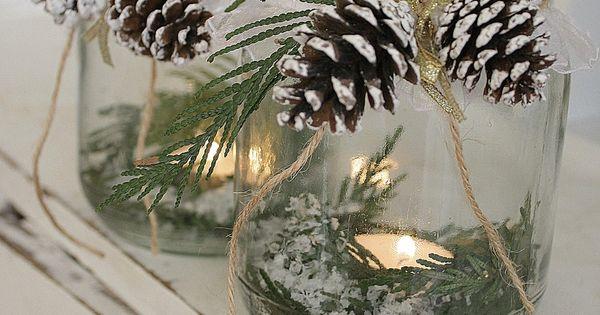Tea lights, pine and a simple jar...set around your home for Christmas