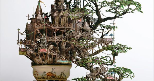 Whaaat? Treehouse in a bonsai tree- awesome! Japanese artist Takanori Aiba, a