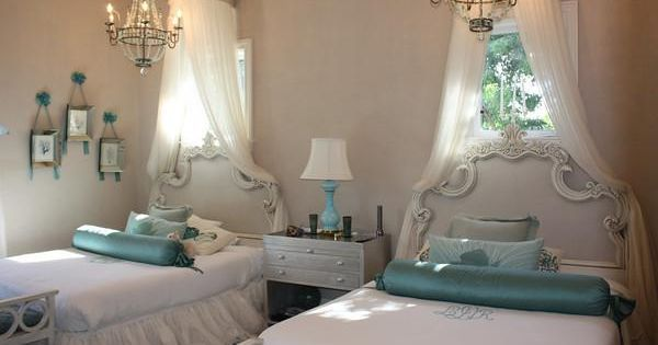 girl's rooms - ornate headboard chandeliers aqua accents canopy gray walls Magical