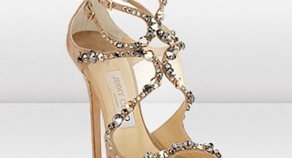 Nude Jimmy Choo wedding shoe with Rhinestone Embellishments