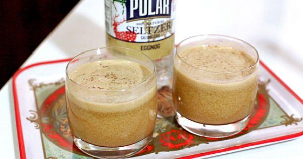 Holiday Cocktail: Skinny 'Nog-Tini (bourbon, rum, almond milk, nutmeg, eggnog seltzer)
