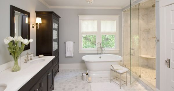 Master Bathroom Colors Example: Dark Cabinets, Pale Gray/Blue Walls and light tile