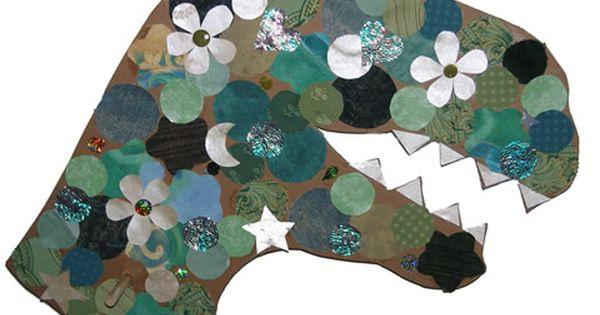 Dinosaur craft cardboard magazine pieces felt tissue for Craft paper dollar tree