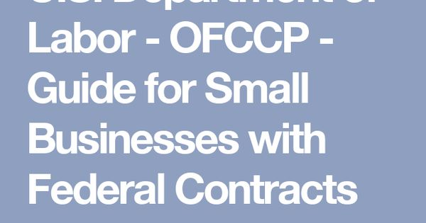 US Department of Labor - OFCCP - Guide for Small Businesses with