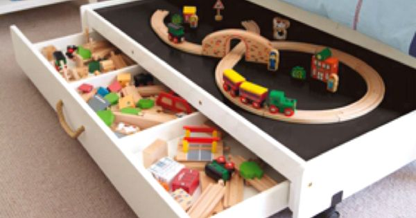 Train Table Under The Bed Great Idea Takes Up Less Space In The Room When They Are Not Using