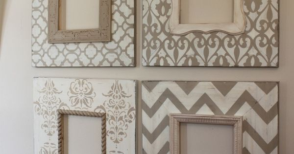 Painted picture frames. Subtle but with great patterns! pictureframes diy