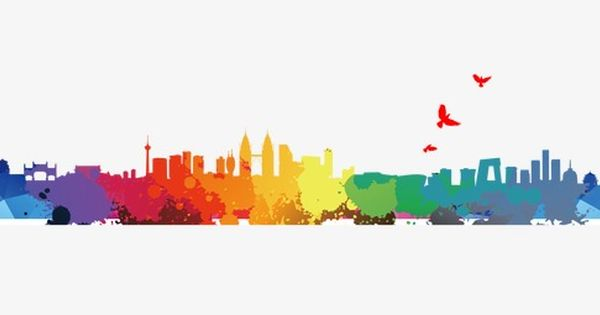 Colorful City Silhouette City Silhouette Color Silhouette Png