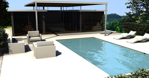 Strak zwembad tuinhuis tuinhuizen tuinaanleg pinterest swimming pools - Outdoor decoratie zwembad ...