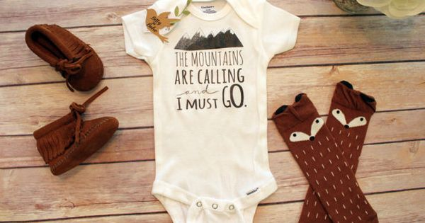 Mountains are Calling esie Baby Boy Clothes Boho Baby