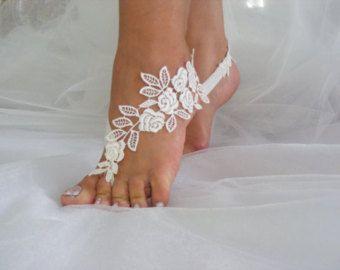 B\u0130G D\u0130SCOUNT Barefoot sandals ivory lace barefoot sandals wedding barefoot lace sandals Beach wedding barefoot sandals ivory lace  N-9A
