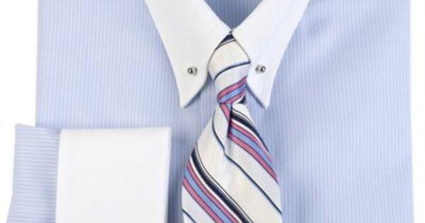 Premium cotton herringbone eyelet collar french cuff dress for Mens eyelet collar dress shirts