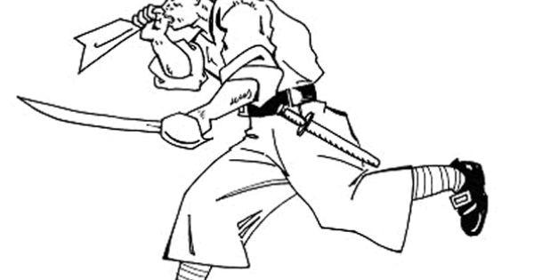 Coloriage d un pirate arm d un fusil et d un sabre coloriages de pirates pinterest pirates - Dessin de sabre ...