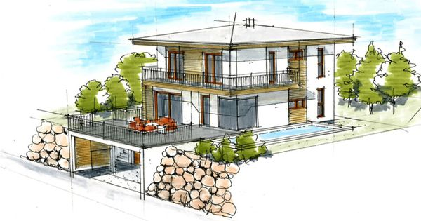 Haus plan walmdach im hang architektur innendesign for Haus innendesign