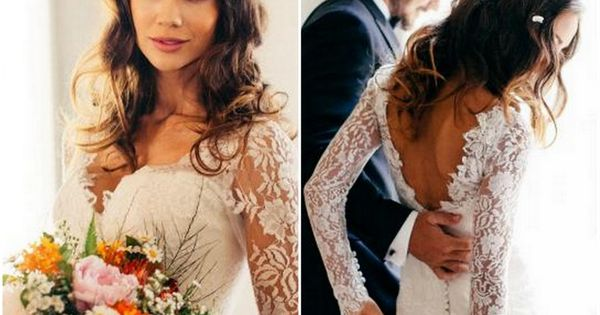 Long Sleeved Wedding Dresses: V-Neck italian lace long sleeved dress with button