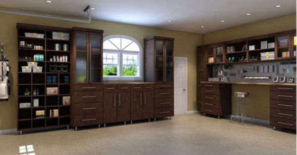 Garage storage espresso melamine home and garden for Closet world garage