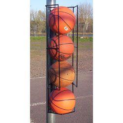 Basketball Butler 4 Ball Storage Rack Pole Mount Basketball Holder Basketball Court Backyard Basketball Bedroom Outdoor Basketball Court
