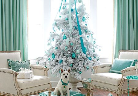 Tiffany blue Christmas! Love the color & idea but flocking the tree?