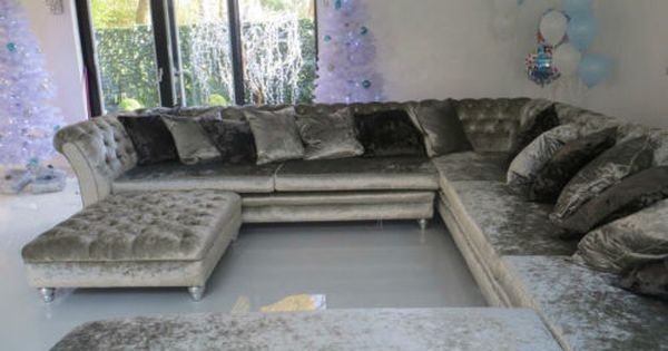 Crushed Velvet Corner Sofa L Shape Sofa U Shape Sofa