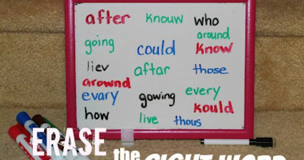 Simple & fun Erase the Sight Word Game for kids (can be