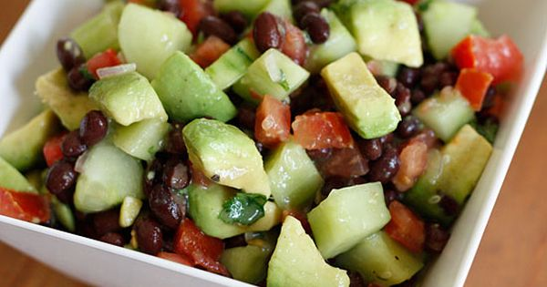 Tomato, cucumber, avocado, and black bean salad Combine - 2 medium tomatoes,