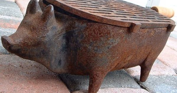 Vintage Primative Cast Iron Pig Bbq Charcoal Hibachi Grill Cast Iron Charcoal Grill Antique Cast Iron Cast Iron