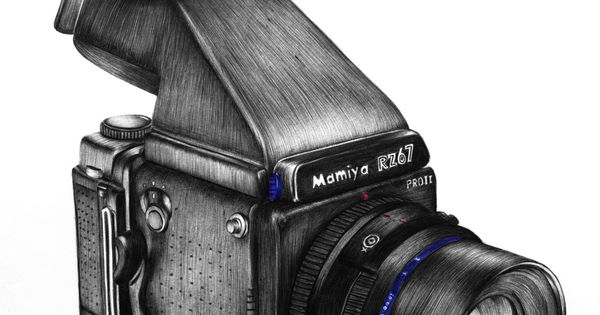 Bic pen drawing of the Mamiya RZ67. Sarah Esteje. Sigh.