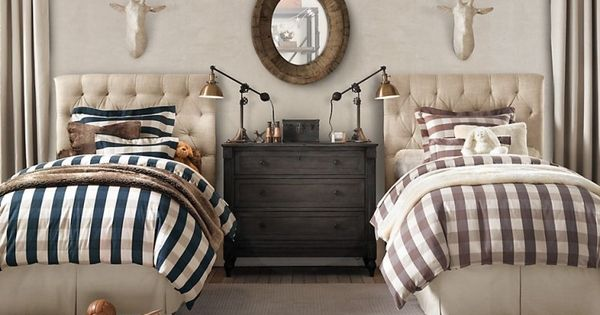 enchanting young man bedroom ideas | For the Young Man. Buffalo checks and a neutral, tailored ...