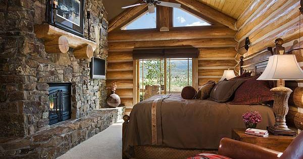 Log Home Bedroom... Yep, pretty much our dream bedroom!