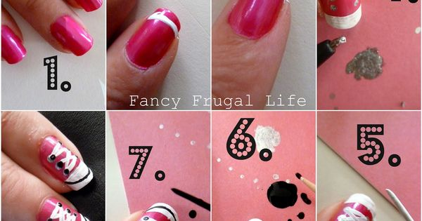 Tuto converse nail art nails pinterest manicuras for Decoracion de unas converse