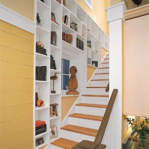Clever Storage By The Stairs Staircase Storage Bookshelves Built In Home