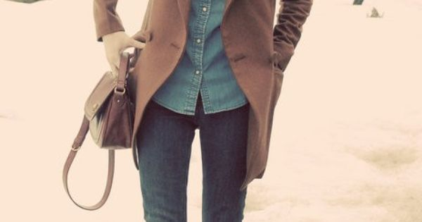 Winter outfit - snood, jeans, long boots, socks, denim shirt, brown coat.