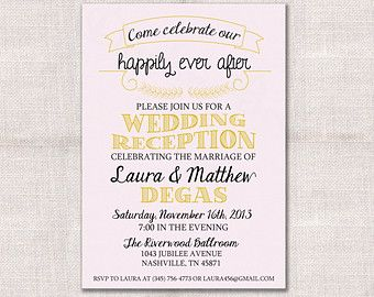 Wedding Reception Celebration After Party Invitation Custom Printable 5x7 Reception Invitations Reception Invitation Wording Wedding Reception Invitations