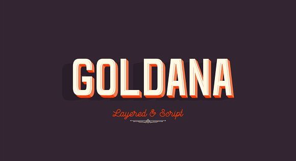 Goldana is a display layered font inspired by art deco